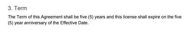 non-exclusive license expiration date