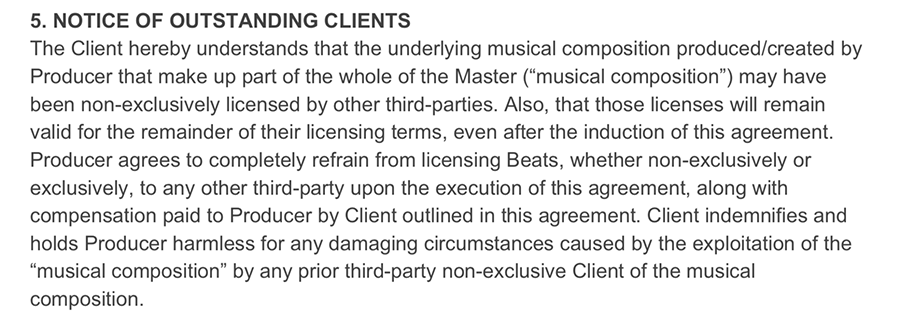 beat licensing - notice of outstanding clients